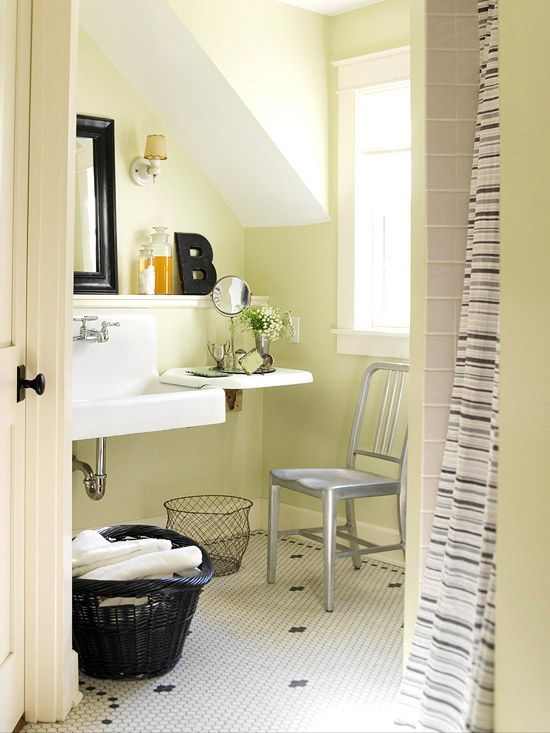 Sink Storage - great idea for small bathroom!  BHG.com