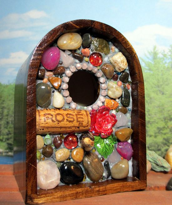mosaic rose and wine cork birdhouse