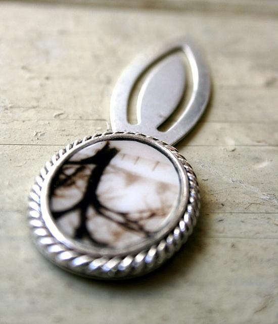 Silver Toned Bookmark  metal elegant unisex by FirstLightPhoto