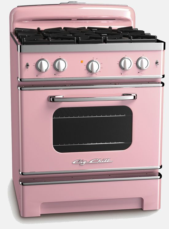 Really, quite possibly the most beautiful vintage reproduction stove of all time. #pink #stove #vintage #kitchen #appliances #home #house #decor #awesome #1950s