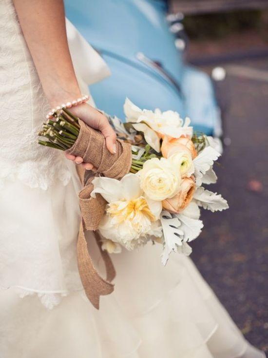 burlap tied flowers.