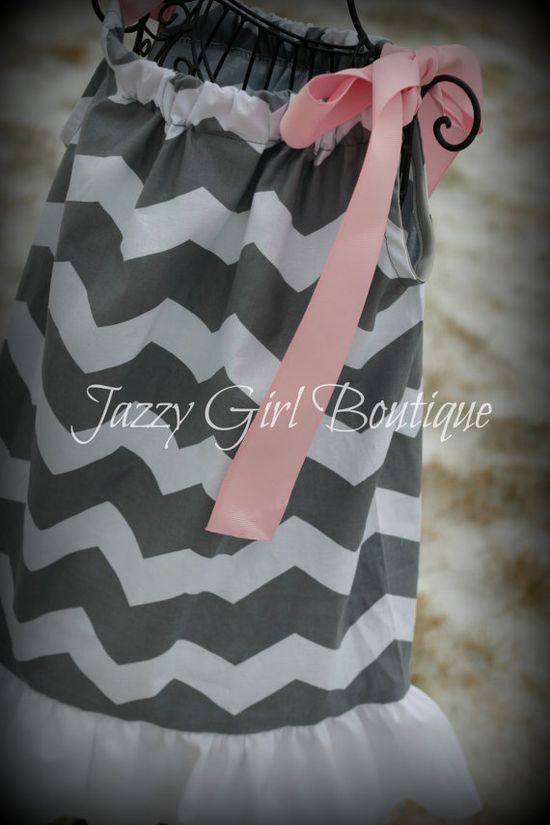 Girls Chevron Pillowcase Dress in Grey with  by jazzygirlboutique, $23.75
