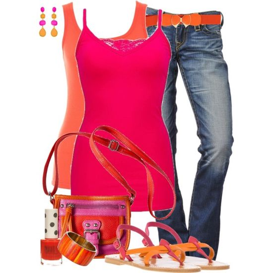 """""""Pink And Orange (2)"""" by lmm2nd on Polyvore"""