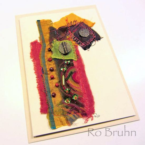 Hand made fabric collage card by robruhn on Etsy, $15.00