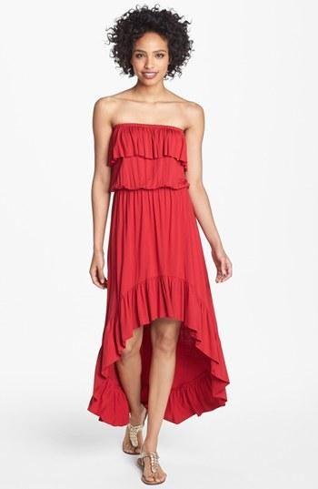 Ruffle High-Low Maxi Dress