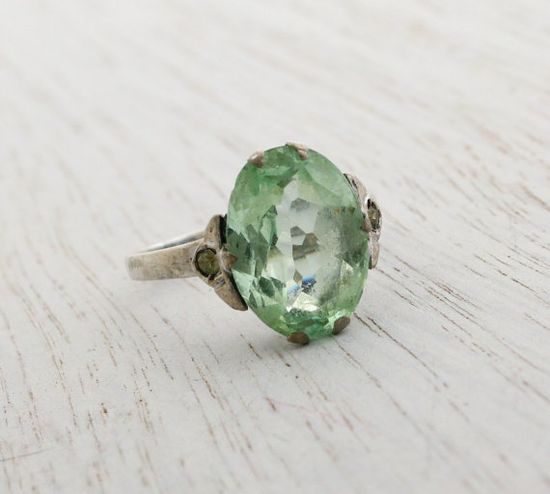 Antique Art Deco Sterling Green Glass Ring   by MaejeanVINTAGE, $45.00