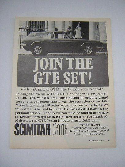 =-=Original Reliant Scimitar GTE Advert from 1969 - Sports Car Ad