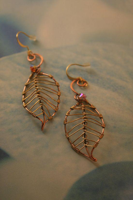 Brass & Copper Leaf Earrings With Aurora Borealis Swarovski Crystal Beads