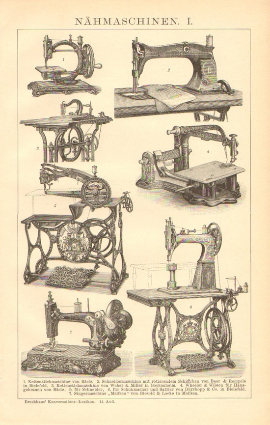 "ButtonShop.ca - Original, beautifully detailed antique double page engraving of sewing machines, printed in 1904. The size of the print (in inches): 9,8"" x 6,7"" (25 x 17 cm)  The print is in good condition and the paper shows its age with a creamy patina, perfect for framing. Concerning the age of the paper - cca. 105 years - some spots can be occured on the margin and the reverse side, but these do not effect the quality of the print itself as it can be seen on the scan."