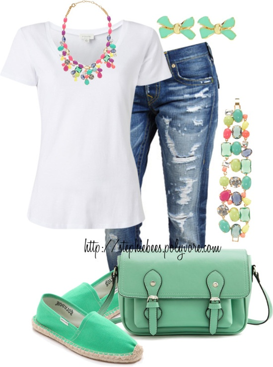 """White Tee & Funky Jewels"" by stephiebees ❤ liked on Polyvore"