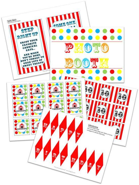 printable circus theme party