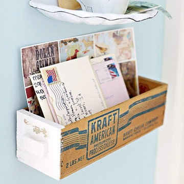 Vintage Cheese Box Used As A Mail Bin