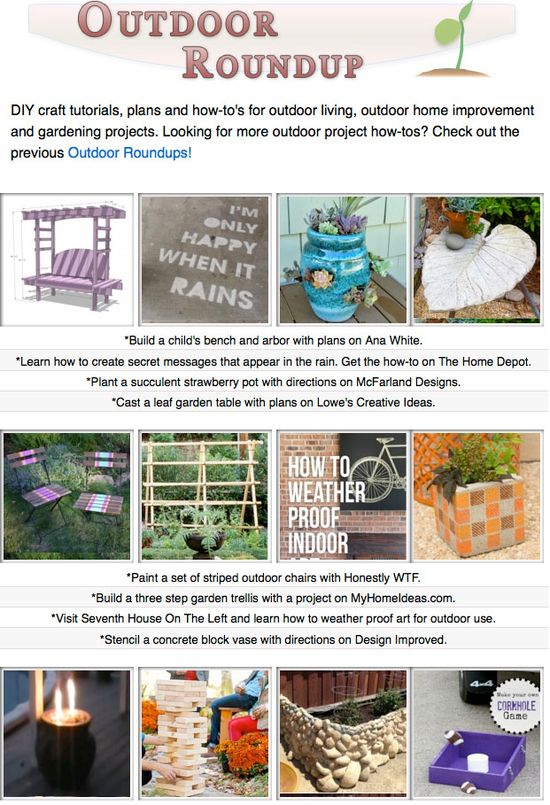 16 free outdoor project tutorials! Planters, garden decor, yard projects and more!