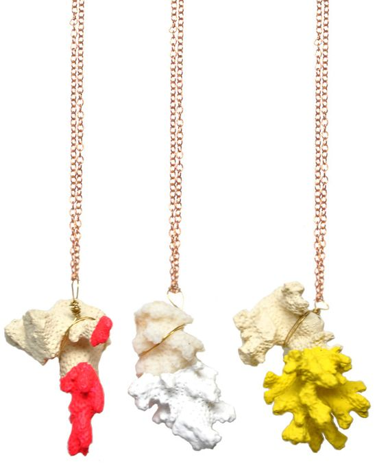 Neon-dipped coral necklace.