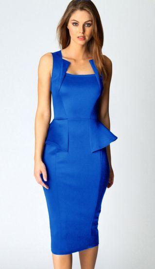 Blue Sleeveless Square Neck Ruffle Slim Dress