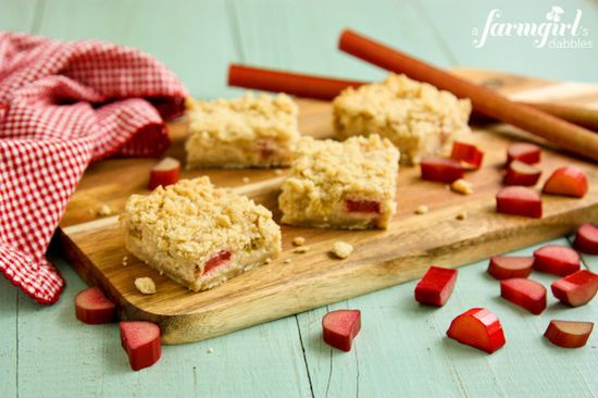 Rhubarb Cream Cheese Bars - www.afarmgirlsdabbles.com