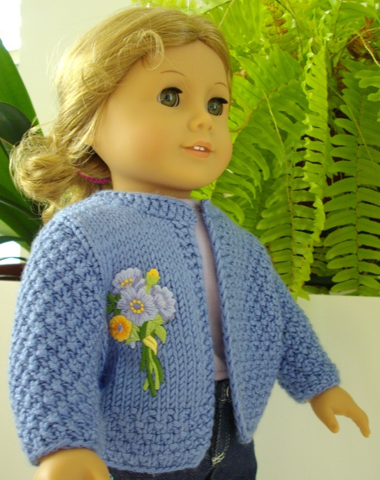 Basic cardigan knitting pattern for American Girl doll