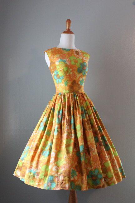 1950s Harvest Gold Sundress  #floral #dress #1950s #partydress #vintage #frock #retro #sundress #floralprint #petticoat #romantic #feminine #fashion