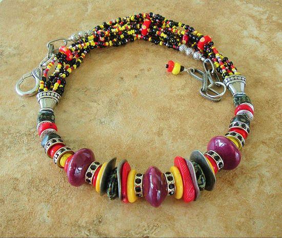 Boho Necklace Statement Necklace Colorful Necklace by BohoStyleMe