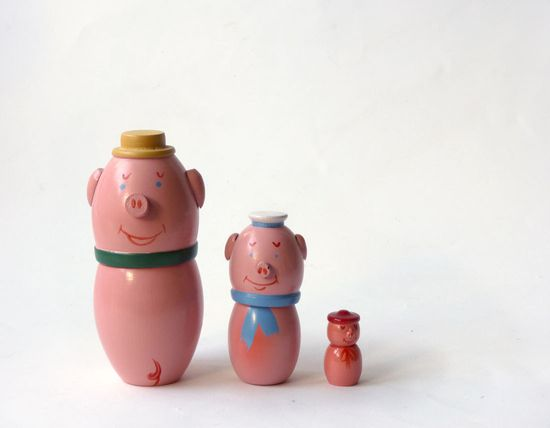 Three Pigs Matryoshka, hand painted wooden toy, Made in Poland