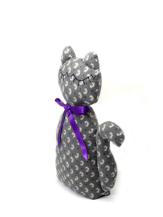 Cat doll  stuffed animal  Gray cotton with small by shusha64,