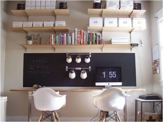 chalkboard wall, office supply storage, desktop, office chair