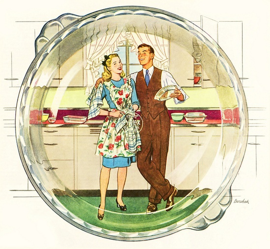 Vintage domestic bliss as seen through the eyes of Pyrex. #vintage #1940s #couple #Pyrex #homemaker #housewife #kitchen #apron