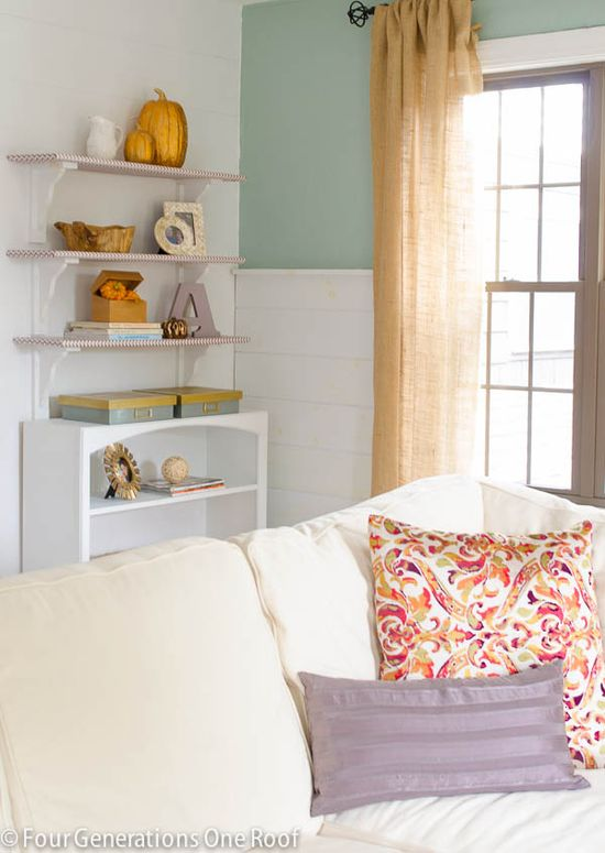 Site full of beautiful home decor!! Lavender + gold bookcase -- decorating tips to keep it simple. #home #decor #tips