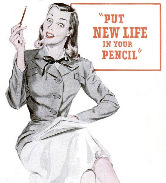 Put new life in your pencil! #vintage #office #school #supplies #1940s