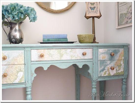 Decoupaged desk