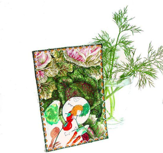 Fiber Art Card Angel postcard kitchen decor by BozenaWojtaszek, $21.00