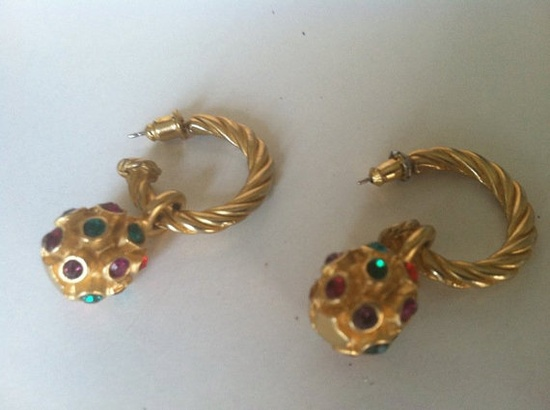 Vintage Colorful Ball Drop Earrings-also ON Sale!  $34.00