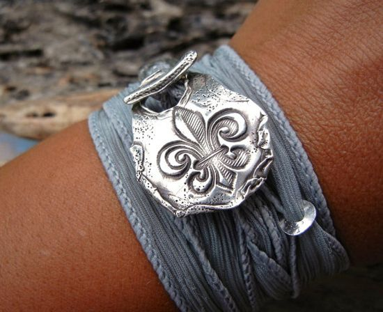 Silk Ribbon Adjustable Bracelet with had stamped silver toggle