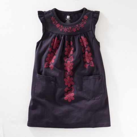 Cute little girls dress (fabric paint and a stencil for embellishments) // tea collection