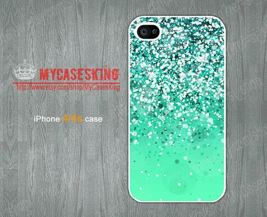 Mint Green Sparkle Glitter IPhone 4 case Glitter iPhone 4s case Sparkles iphone 4 case iphone Hard/Rubber case-Choose Your Favourite Color