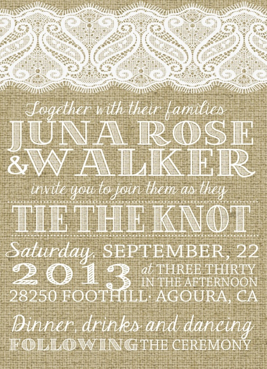 Burlap & Lace Wedding Invitation