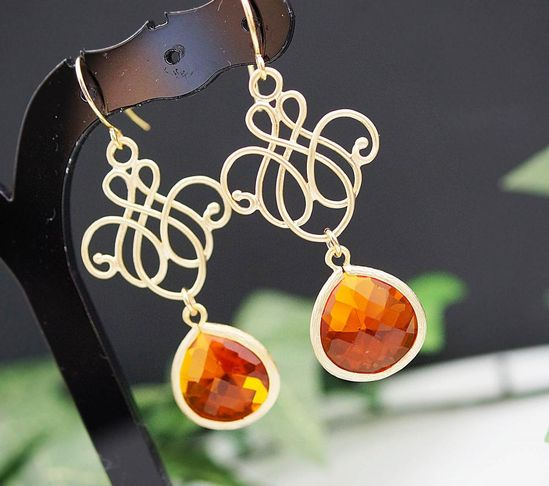 Everyday wear jewelry Wedding Jewelry Bridesmaid Jewelry Matte gold plated oriential charm with Fire Opal Orange Glass Drops earrings