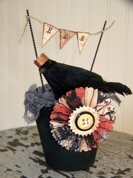 Vintage Halloween Decoration Vintage Crow Halloween by QueenBe, $18.00