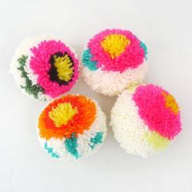DIY Flower Pompoms Tutorial