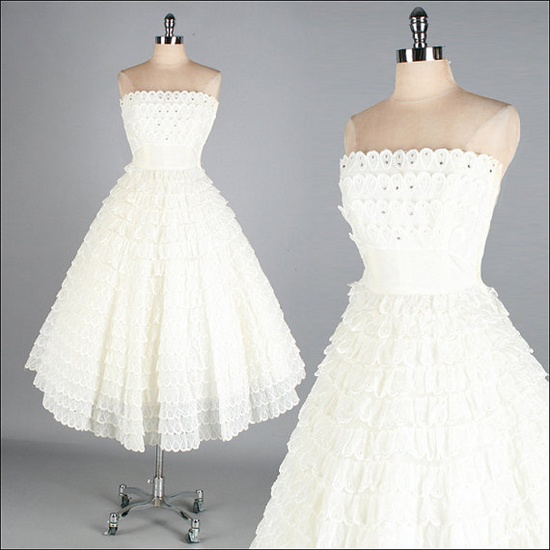 Vintage 1950s Dress  White Eyelet Lace  Full by millstreetvintage, $325.00  For Laci's wedding (for her, not me)
