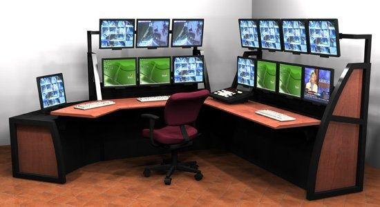 Super Home Office Multi-Monitor Desk