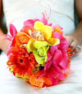 Bright, tropical silk flower bouquet