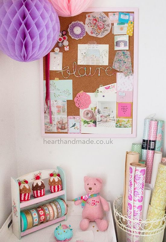 Craft Room and inspiration board. Love the basket for wrapping paper!