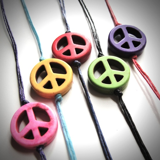 Howlite Peace Out bracelets by JewelryByMaeBee on Etsy, $16.00
