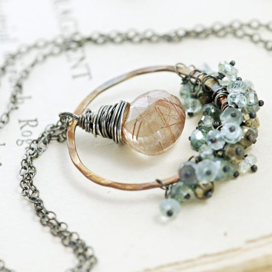 Copper Gemstone Pendant Necklace Sterling Silver by aubepine, $68.00