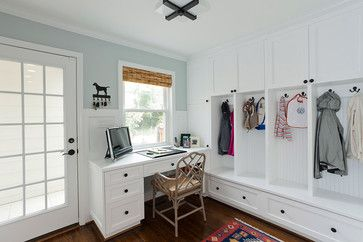 I want tall storage cabinets around the coat hook/cubbies like this mudroom.