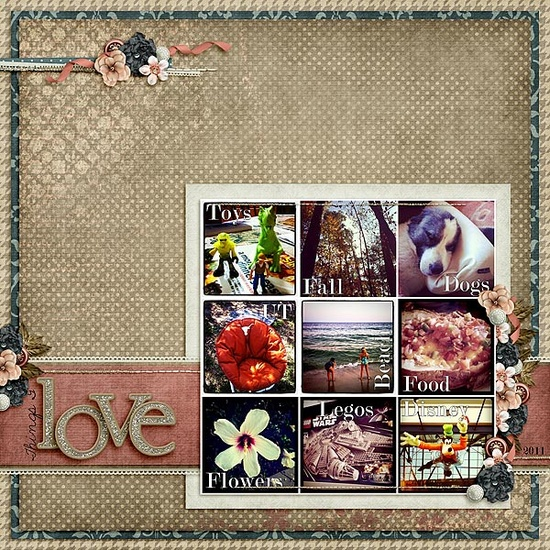 9 photos Scrapbook layout