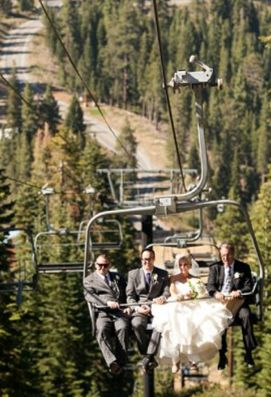 Lake Tahoe chairlift wedding photo