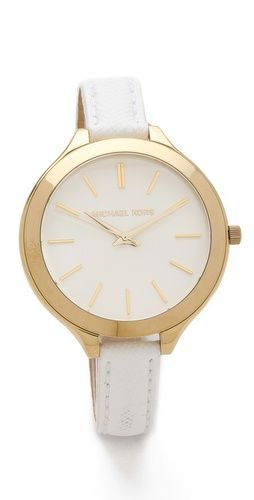 michael kors slim leather watch