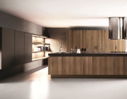 Walnut black kitchen interior